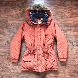 LL Bean • vintage rust orange quilted parka coat